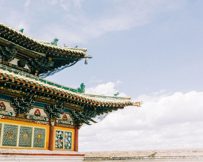 Building Exterior Sky Built Structure Architecture Cloud - Sky Building Religion Low Angle View Day Roof Belief Nature No People Outdoors Travel Destinations Spirituality Place Of Worship The Past Ornate Mongolia