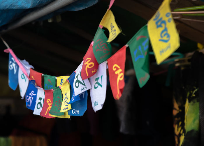 Close-up of praying flags
