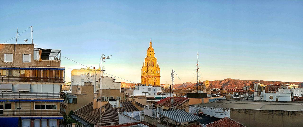 Golden Hour Panorama SPAIN Church Murcia España Cathedral