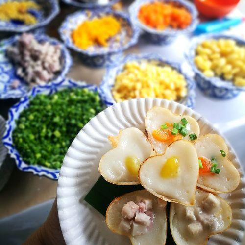 ka nom look - coconut cream cake Thai Dessert Coconut Cream ขนมครก ขนมไทย Coconut Cream Cake Food And Drink Assortment