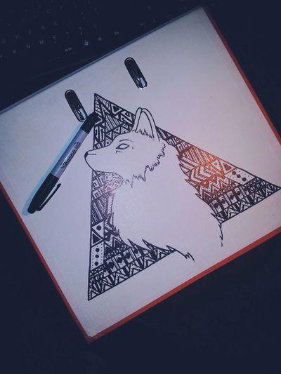 Sharpie Art Drawing Wolf Aztec
