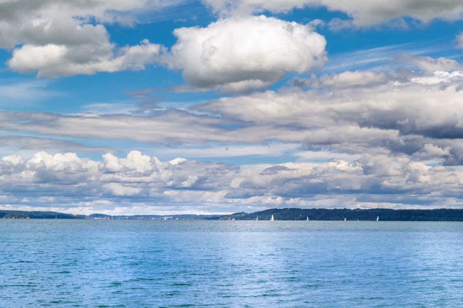 Summer day on Lake Starnberger See, Bavaria, Germany Starnberger See Bayern Bavaria Upper Bavaria Nature Atmosphere Lake Calm Silence Clouds Mood Balance Blue Sky Starnberger Summer Landscape Germany Blue Day Nature No People Outdoors Scenics Sea Sky Tranquility Water Waterfront