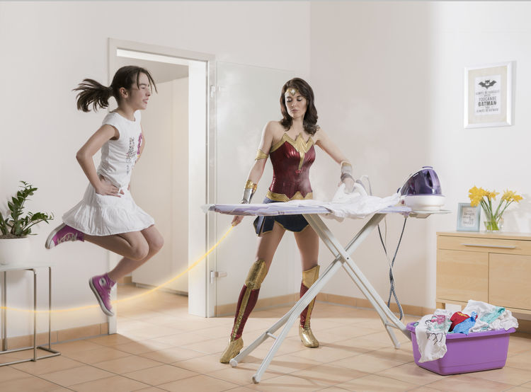 multitasking wonderwoman busy hero Burnout Busy HERO Household Indoor Woman Iron Irony Lifestyle Modern Modern Woman Mother & Daughter Multitasking Parent Routine Simultaneously Strong Woman Superhero Wonder Wonderwoman