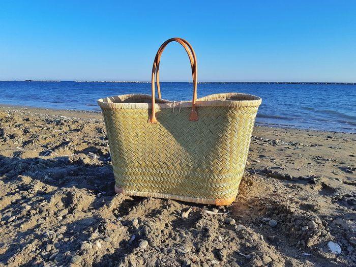 beach ready Beachbag Strawbag Beachdays Pepples Bluesea Meditteraneansea Yeroskipou Bluesky SandyBeach Cyprus Water Sea Beach Clear Sky Sand Shadow Blue Summer Horizon Sunlight