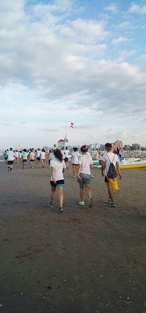 Beach Outdoors Sea Cloud - Sky People Sky Day Nature Togetherness Color Color Run Color Runners Wind Young Adult Mare Cielo Nuvole Nuvole Bianche Vento Spiaggia Rimini Riminibeach Rimini, Italy Color Run Rimini 2016