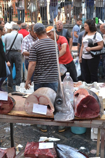 Catania, Sicily Fish Market Sicily Sword Fish People Pesce Busy Day Fish Tunafish