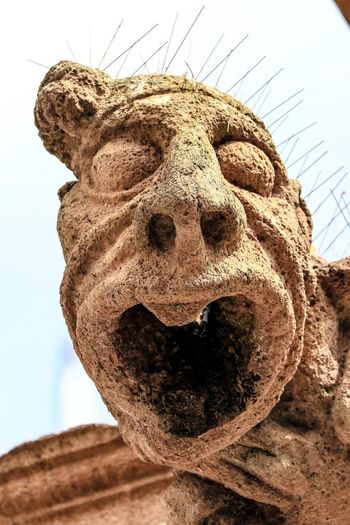 Day Low Angle View Sky Close-up Outdoors Sculpture No People Gargoyle Church Architecture Church Exterior Faces Of EyeEm HEAD Shocked Expression ExpressYourself Expressive Sculpture Candid
