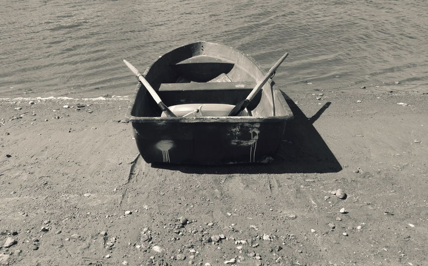 Boat Moored On Shore At Beach