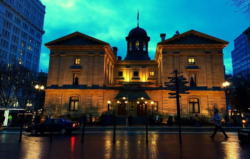 City Light Beautiful Downtown Urban Landscape Architecture Historical Building Water Reflection Night Lights