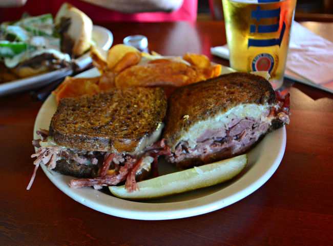 Bar Food Bread Comfortfood Cornedbeef Focus On Foreground Food Freshness Grilled Lunch Meal Meat Melted Cheese No People Pickle Plate Ready-to-eat Rueben Sandwich Sandwich Sandwiches Served Still Life