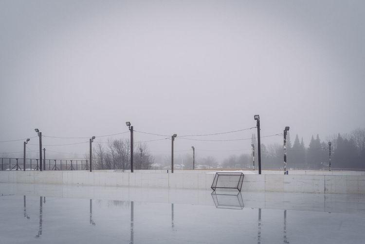 Foggy day at empty skating rink