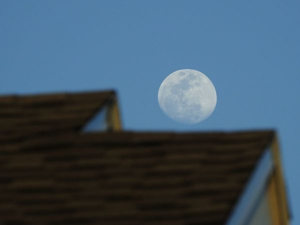 Astronomy Moon Clear Blue Sky Rooftop Shingles Low Angle View Photography