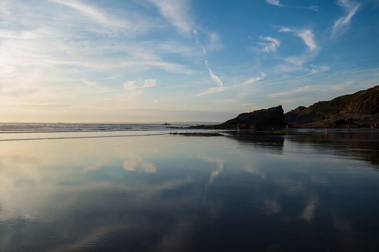 Beach Beauty In Nature Evening Evening Sky Mirror Mirrored Nature Reflection Reflections Sea Sea And Sky Seascape Summer Waves Waves, Ocean, Nature