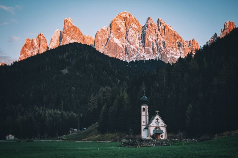 Church Against Forest And Mountain