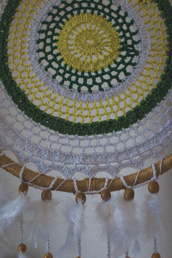 High angle view of decoration hanging on floor