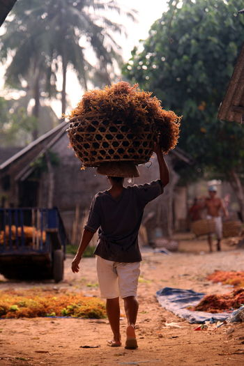 Full length rear view of man carrying wicket basket in village