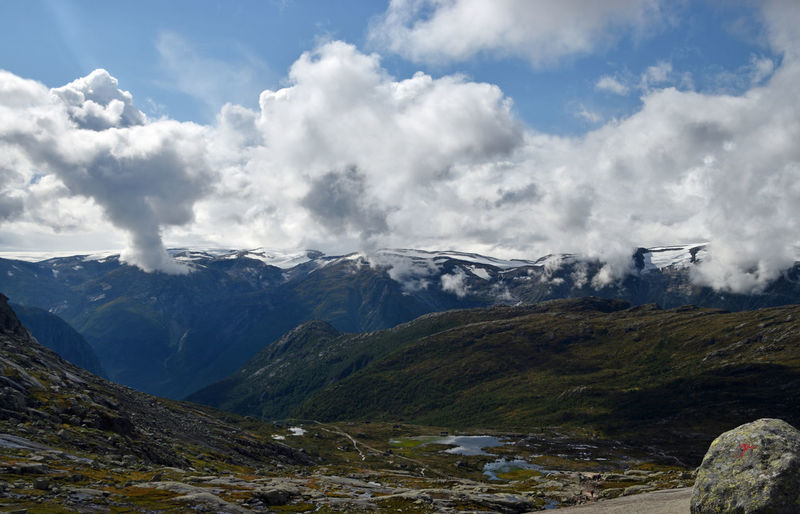 View along Trolltunga hike Norway Beauty In Nature Cloud - Sky Day Environment Land Landscape Mountain Mountain Peak Mountain Range Nature No People Outdoors Range Rock Scenery Scenics - Nature Sky Snow Snowcapped Mountain Travel Trolltunga Norway Hiking Wilderness