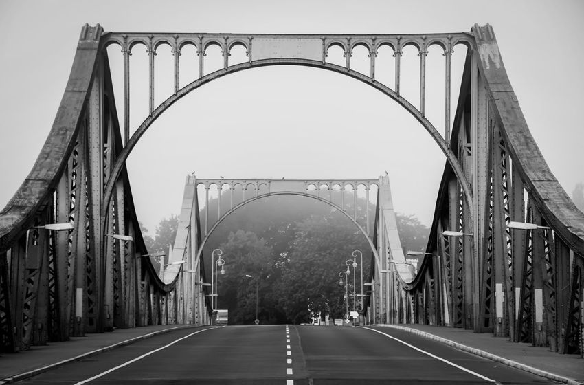 the bridge Arch Arch Bridge Architecture B&w Photography Bridge Bridge - Man Made Structure Built Structure Composition Connection Empty Engineering Famous Place Glienicker Brücke International Landmark Leer Metal Metallic Perspective Strass Street Structure The Way Forward Urbanphotography Zehlendorf