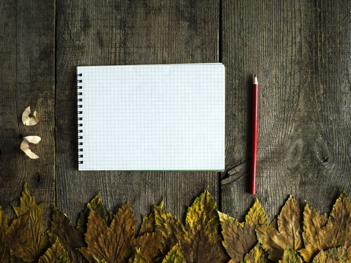 Directly above shot of spiral notebook with maple leaves on old wooden table