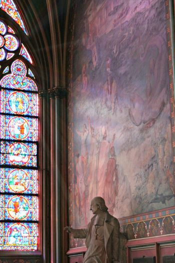 Art Column Fresco Indoors  Marble Statue No People Paris Pink Color Purple Color Solitude Spirituality Stained Glass Window