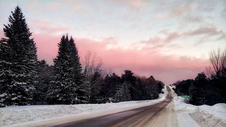 Sunset Road Tree Snow No People Winter Sky Cold Temperature Cloud - Sky Outdoors Nature Beauty In Nature Day Colour Your Horizn Tranquility Walking Around Landscape Minden, On #FREIHEITBERLIN