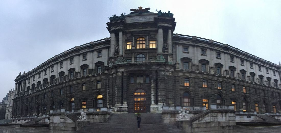 Palace Viena, Austria Travel Destinations One Person Rayning Dark