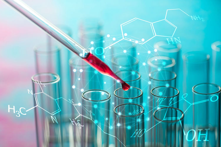 Analyzing Biology Blue Background Chemistry Close-up Education Focus On Foreground Genetic Research Glass Glass - Material Healthcare And Medicine Indoors  Laboratory Medical Research No People Pipette Red Research Science Scientific Experiment Studio Shot Transparent Tray