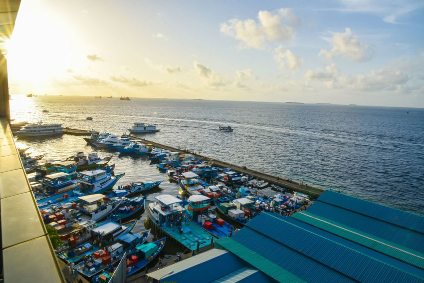 City Cityscape Maldives Maldives Islands Nature Sky And Clouds Speed Boat Transportation Travel Traveling Beach Boat Island Male Motor Boat Ocen  Port Sea Seascape Seascapes Sky Sun Top View Water
