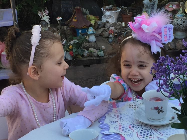 Tea Party Females Women Smiling Offspring Innocence Cute Real People Lifestyles Family Sibling Sister Happiness