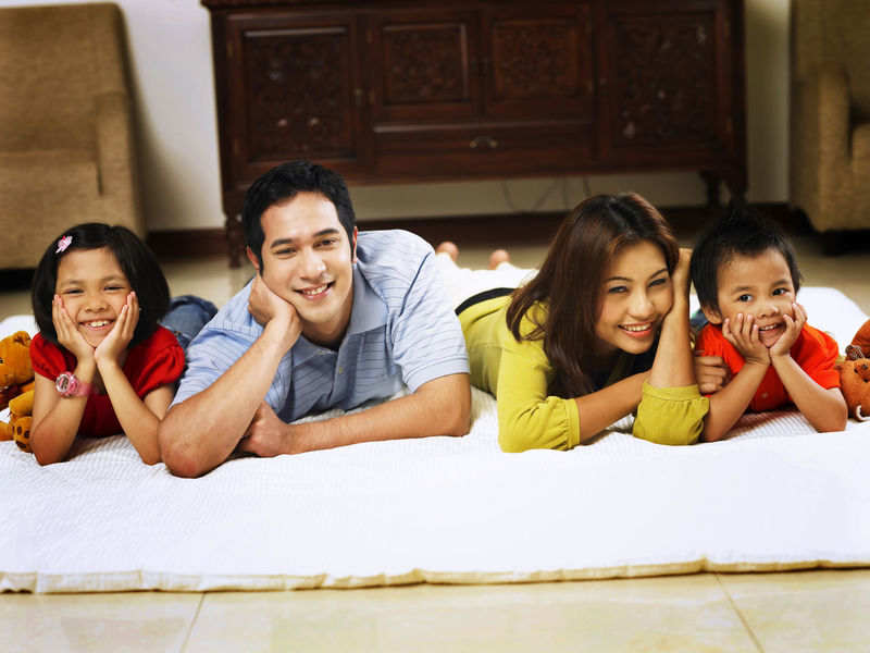 parent with two kids at home Asian Family At Home Family Happiness Bonding Cheerful Childhood Elementary Age Enjoyment Family Time Group Of People Leisure Activity Parent With Kids Parenting Real People Simple Life Smile Togetherness