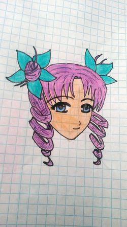 Anime Purple Aqua Blue Eyes Manga Drawing Art Madebyme Originalwork Creativity Handmade Colorful Pencil Beginner Random Not Bad Girl Animegirl Artist Inspired Bored