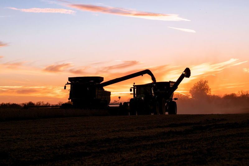 Agriculture Combining Harvesting No People Outdoors Rural Scene Sky Sunset Tractor