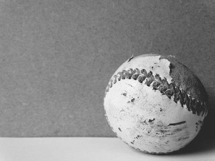 Baseball black and white. Baseball Ball Sports Leisure Activity Summer Activity Blackandwhite Rounders Softball Balls Sports Equipment Physical Activity Round Simplicity Still Life Close-up Perspective Sports Ball Old Plain Background Showcase June