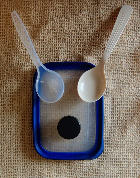 You can see anything anywhere, bow wow. Indoors  Close-up Spoons Bottle Top Plastic Food Container Photography