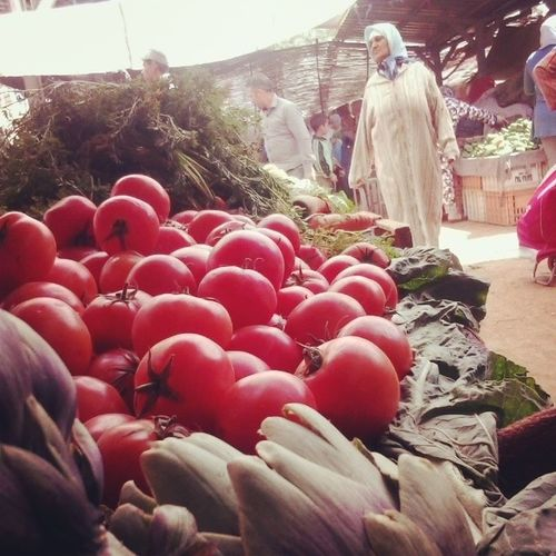 Morning in the market for fresh LEGUMES ! Souk Lazaret Oujda Morocco Maroc