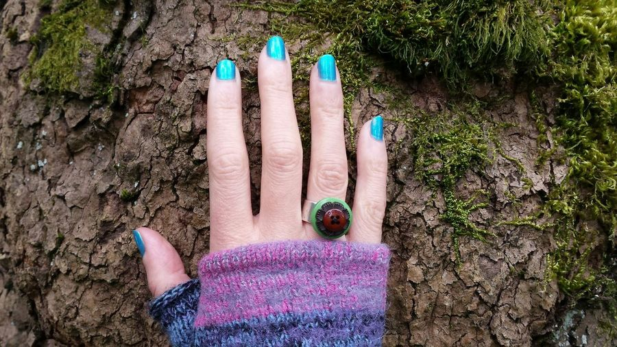 Human Hand One Person High Angle View Real People Personal Perspective Outdoors Leisure Activity Nail Polish Close-up People Day One With Nature One With The Elements Tree Tree Love Ring