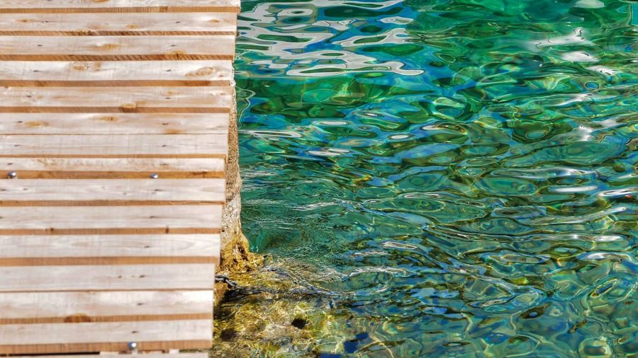 Live Life To The Fullest Live The Moment  See The World Differently Backgrounds Beauty In Nature Blue Day Floating On Water Full Frame Green Color High Angle View Live Authentic Nature No People Outdoors Photowalktheworld Pool Reflection Rippled Sea See The World Through My Eyes Sunlight Swimming Pool Travel Destinations Turquoise Colored Water Wood - Material