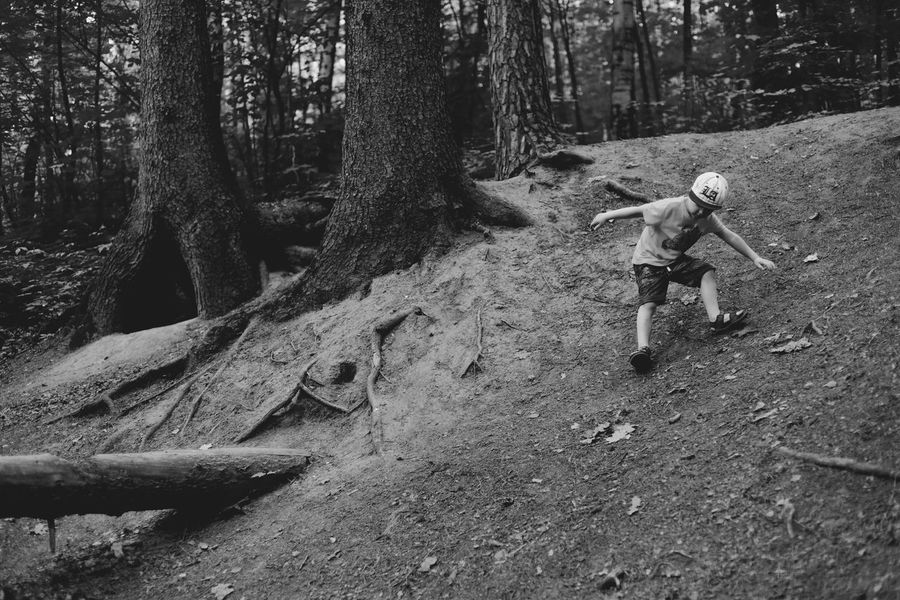 Adventure B&w Photography Child Childhood Children Only Descent Downhill Forest Leisure Activity Lifestyles One Boy Only Tree Tree Trunk White Cap