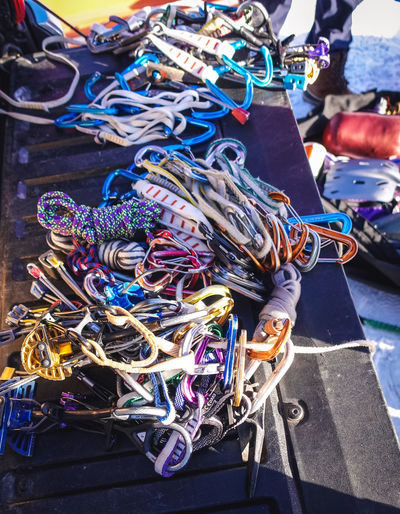 High angle view of multi colored ropes