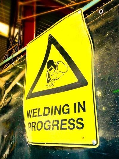 Welding in progress Welding Welding Works Welding Work Safety Symbol Safety Sign Welding Safety Hot Works Safet Communication Sign Yellow Warning Sign Text Western Script Safety Information Information Sign Warning Symbol