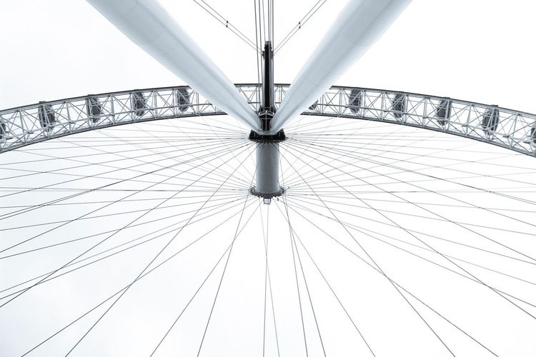 Low Angle View Sky Architecture Day No People Outdoors Close-up Tourist Attraction  Tourism London Places Of Interest Everyday Lives Outdoor Photography City Built Structure London Eye Symmetry Blackandwhite Blackandwhite Photography Silhouette Contrast Lookingup