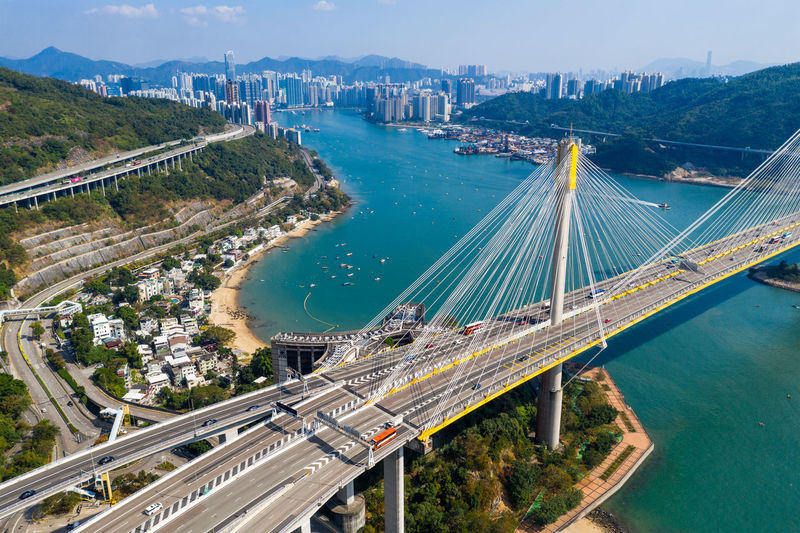 High angle view of bridge over city