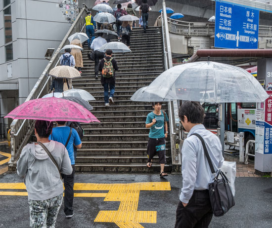 Raining in Tokyo, Japan, Street scene. City Life Crowd Japan Moody People Rain Rainy Day Stairs Street Tokyo Umbrella Urban Water Wet
