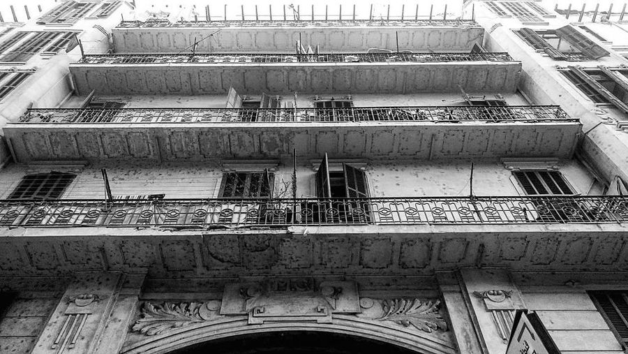 Architecture Built Structure Building Exterior Window Balcony Low Angle View No People Outdoors Day Mobile Photography Black And White Monochrome Downtown City Black And White Friday