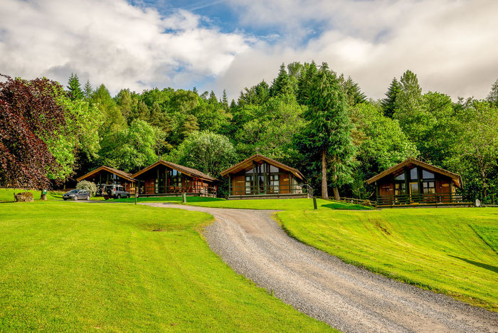 Rental holiday wooden lodges at Loch Tay lake in central Scotland, Great Britain Family Holiday Lakeview Loch Tay Nature Perthshire Retreat Scotland Scottish Accommodation Cabin Cloud - Sky Cottage Grass Green Color Highlands Killin  Lake Landscape Lodge Outdoors Rental Self Catering Vacation