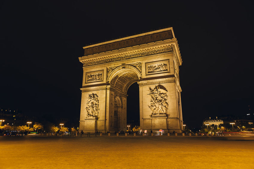 Arc de Triomphe at night in Paris France Nightphotography Paris Paris, France  ParisByNight Arch Architecture City History Illuminated Long Exposure Monument Night No Cars In This Picture Outdoors People Sky Tourism Triumphal Arch