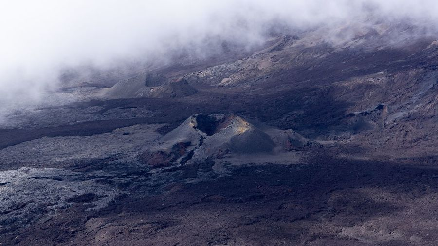 In the caldera, one of the many ancient eruptive cones of the volcano piton de la fournaise