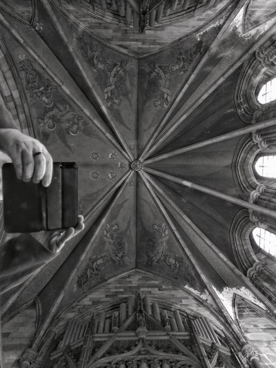 Just Look Up In The Mirror Ceiling Church Architecture Organ Pipes Doorsopenday Paisley, United Kingdom Human Body Part Blackandwhite Photography My Hands My Phone Case