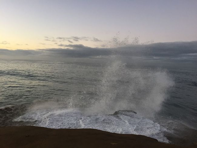 Beach Clouds And Sky Day Geology Horizon Over Water Majestic Motion Nature Outdoors Physical Geography Power In Nature Scenics Seafoam Speed Spray Surf Wave Waves Waves Crashing Weather Winter
