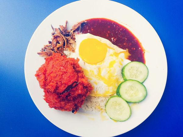 Food Egg Directly Above Food And Drink Plate Fried Egg Freshness No People Indoors  Egg Yolk Healthy Eating Ready-to-eat Close-up Day Malaysianfood Nasilemak Mamakstall Coloursofmalaysia